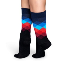 Happy Socks Tagessocke Crew Faded Diamond schwarz/blau/rot 1er