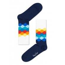 Happy Socks Tagessocke Crew Faded Diamond weiss/navy - 1 Paar