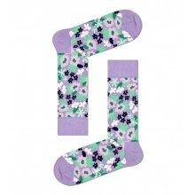 Happy Socks Tagessocke Crew Flower (Blume) violett - 1 Paar