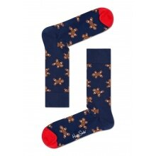 Happy Socks Tagessocke Crew Ginderbread navy 1er