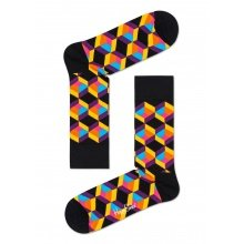 Happy Socks Tagessocke Crew Optiq Square schwarz/bunt 1er