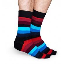 Happy Socks Tagessocke Crew Stripes schwarz/rot/blau - 1 Paar