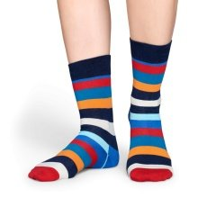 Happy Socks Tagessocke Crew Stripes blau/orange/rot 1er