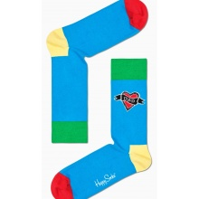 Happy Socks Tagessocke Crew Dad Herz blau - 1 Paar