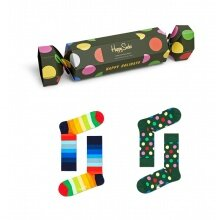Happy Socks Tagessocke Crew Classic Holiday Gift grün Geschenkbonbon - 2 Paar