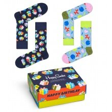 Happy Socks Tagessocke Crew Happy Birthday Geschenkbox - 2 Paar