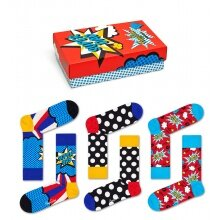Happy Socks Tagessocke Crew Vatertag (Super Dad) rot Geschenkbox - 3 Paar