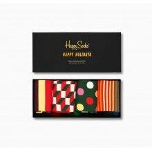 Happy Socks Tagessocke Crew Classic Holiday (Ferien) schwarz Geschenkbox 4er