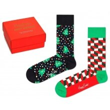 Happy Socks Tagessocke Crew Holiday (Ferien) rot Geschenkbox 2er