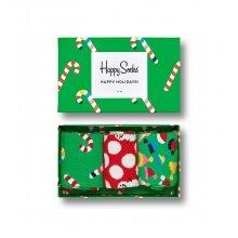Happy Socks Tagessocke Crew Holiday (Zuckerstange) Geschenkbox 3er
