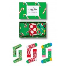 Happy Socks Tagessocke Crew Holiday (Zuckerstange) Geschenkbox 3er