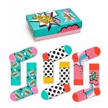 Happy Socks Tagessocke Crew Muttertag (Super Mom) türkis Geschenkbox - 3 Paar