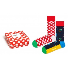 Happy Socks Tagessocke Crew Christmas (Schneemann & Ski) Geschenkbox 2er