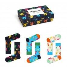 Happy Socks Tagessocke Crew Mixed Dogs (Hunde) Geschenkbox - 3 Paar