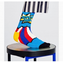 Happy Socks Tagessocke Crew Super Dad blau - 1 Paar