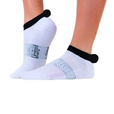 Limited Sports Tennissocke Pompon weiss/schwarz Damen