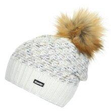 Eisbär Mütze (Pompon) Pansy Lux weiss/natur/hellbraun Damen