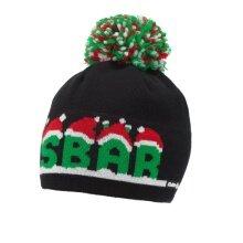 Eisbär Mütze (Pompon) Santa Eisbär schwarz/grün/rot Herren