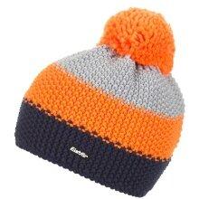 Eisbär Mütze (Bommel) Star Pompon cobalt/orange/hellgrau Kinder