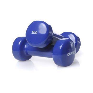 Oliver Fitness Hanteln Vinyl Set 2x 2,0kg dunkelblau
