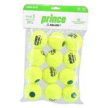 Prince Stage 1 Play&Stay Methodikbälle gelb/grüner Punkt 12er Beutel
