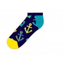Happy Socks Tagessocke Sneaker Big Anchor (Anker) dunkelblau - 1 Paar
