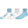 Nike Tennissocken Graphic CTN Cush QTR Girls sortiert türkis/weiss 3er