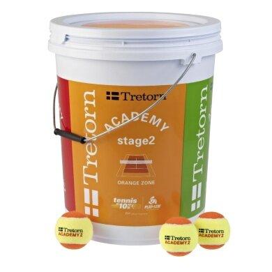 Tretorn Stage 2 orange Methodikbälle 72er im Eimer