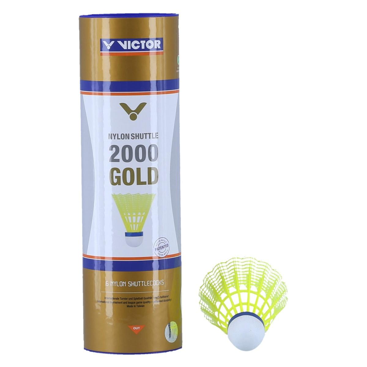 VICTOR Badmintonball Nylonshuttle 2000 schnell 6er Dose weiß Plastik Federball Bälle