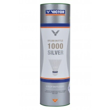 Victor Badmintonbälle Shuttle 1000 Nylon/Korkfuss Dose weiss 6er