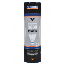 Victor Badmintonbälle Shuttle 3000 Nylon/Korkfuß Premium+ Dose weiss 6er