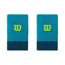 Wilson Schweissband Jumbo (Extra Weit) Handgelenk aquablau/dunkelblau - 2 Stück