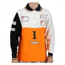 X-Bionic Polo Piquet Langarm Tricolour weiss/schwarz/orange Herren