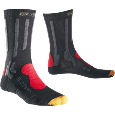 X-Socks Trekkingsocke Light Comfort charcoal/red Herren (Größe 45-47)