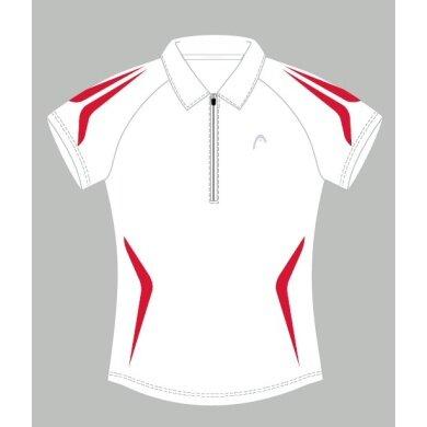 Head Polo Zip weiß/rot Damen (Größe S)